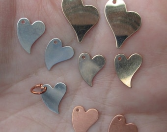 Sterling Silver,Gold Filled or Copper Heart Stamping 12mm