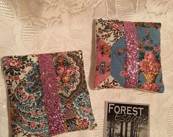 BERRY PRETTY Sachets with Sparkle Ribbon, set of 2 drawer sachets, Luscious Blackberry, Raspberry, Vanilla