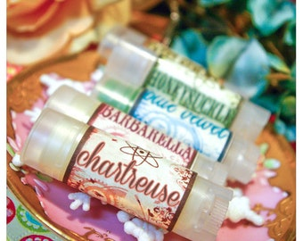 chartreuse - mesmerizing mojito flavored lip embellishment - housed in nifty frosted dispenser