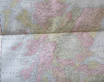 1891 Map- Scotland - Atlas Page 14.5 x 22 in Great for Framing