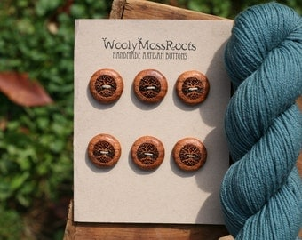 6 Madrone Tree Buttons- Oregon Madrone Wood- Wooden Buttons- Eco Craft Supplies, Eco Knitting Supplies, Eco Sewing Supplies