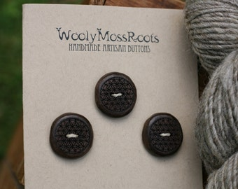 3 Flower of Life Buttons- Wooden Buttons- Black Walnut Wood- Eco Craft Supplies, Eco Knitting Supplies, Eco Sewing Supplies