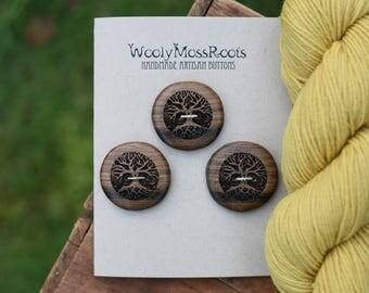 3 Wooden Tree Buttons- Oregon Myrtlewood- Wooden Buttons- Eco Craft Supplies, Eco Knitting Supplies, Eco Sewing Supplies