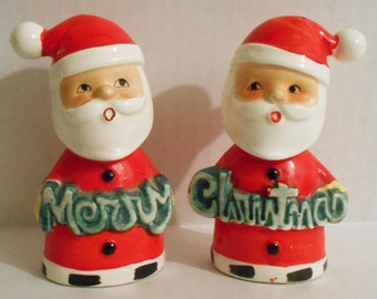 Vintage Whimsical Ceramic Santa (Holding Merry Christmas) Salt & Pepper Shakers Japan