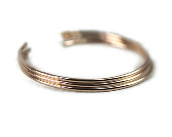 3 Layering Cuffs in Rose Gold, Smooth Stacking Bangles in Rose Gold Fill