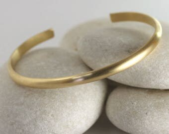 Wide Matte Gold Cuff, Brushed Gold Stacking Bangle, Gold Fill custom bracelet