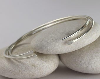 3 Smooth Silver Cuff Bracelets, Simple Silver Bangles, Custom Sized Bracelets in Sterling Silver