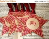 "Christmas Star Gift Tags in RED ""Be Jolly"" -SET of 6-Ribbon Colours Available"