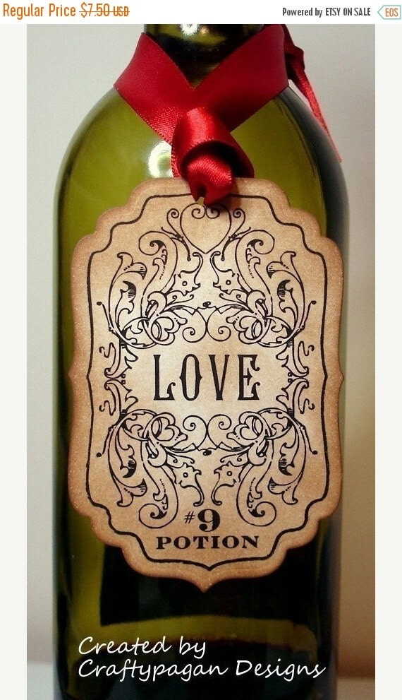 Love Potion Label/Tags SET of 6-Vintage Style-As FEATURED On Rock And Roll Bride