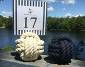 15-19 Navy Blue, Cream or Both -  Rope Number Holders -  You Choose - Nautical Wedding Rope Table Number Holders  - Beach Wedding Decor