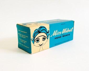 Vintage 1960s Miss Webril Head Band Box Only / Hair Styling Beauty Shop Bathroom Set Prop Display Ephemera, Aqua Black Mid Century Graphics