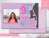 Rock Climbing Girl Photo Birthday Party Invitation with optional Thank You card - Print Your Own