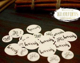 160 pc Custom Monogram Name Wedding Reception Confetti Table Scatter White Black Card Stock