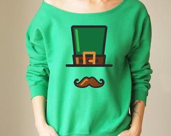 Off Shoulder Sweater Offshoulder Sweater St Patricks Shirt Sweatshirt Slouchy Sweater St Patricks Sweatshirt Cozy Sweatshirt Oversize