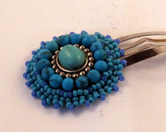 Turquoise Bead Embroidered Snap Clip, beading, beadweaving