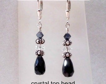 Sterling silver, black onyx teardrop earrings with sterling, crystal or pearl accent beads