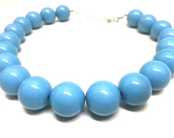Vintage POWDER Blue CHUNKY Bead Lucite Necklace