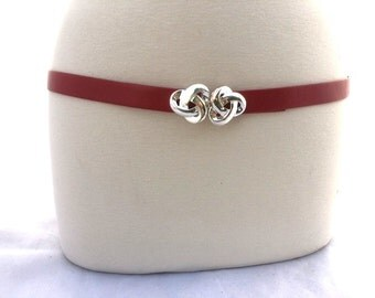 Vintage Thin RED BELT With Silver Tone Buckle / Talbots Adjustable Belt / Womens Small To Large