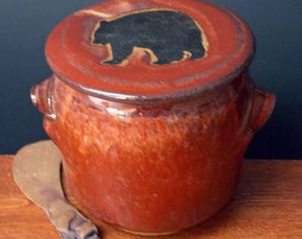 Large Stoneware French Butter Crock With Clay Knife ~ Big Bear Design ~ holds 2 sticks