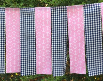 Free USA Shipping/3 foot Pink and Navy Blue Fabric Banner Garland/Nautical Navy Blue and Pink Fabric Garland/Pink High Chair Banner/Prop