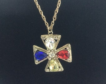 Vintage Jeweled Rhinestone Cross Necklace