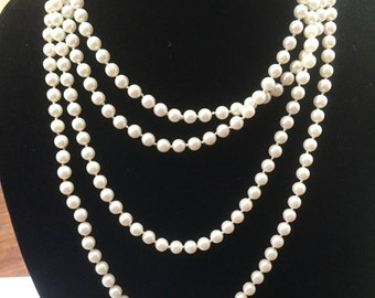 Vintage Opera Length Glass Pearl Necklace