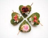 Moss Heart Ring Bearer Pillow, Toadstool Mushroom Ring Pillow, Woodland Winter Rustic Wedding, Wedding Party Decor, Natural Bearer Pillow