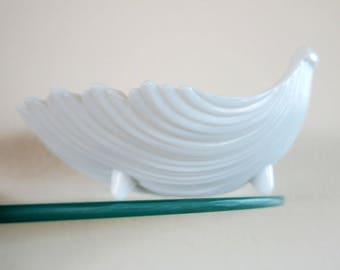 Vintage Shell Dish Milk Glass Westmoreland Footed Candy Dish