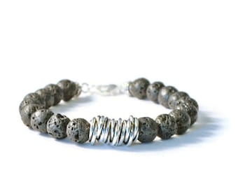 Lava Rock & Antique Silver Aromatherapy Essential Oil Diffuser Bracelet