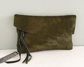 Raw Edge Hair on Hide Leather Clutch - Fern Green Cow Hair Clutch - Cow Hide Bag - Fur Bag