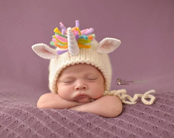 Unicorn Bonnet (pastel version or bright version) Newborn Photography Prop
