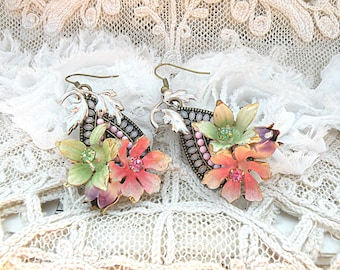 enamel flower earrings assemblage upcycled vintage jewelry romantic spring cottage chic ooak pastel garden