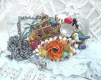 mermaid collage necklace assemblage nautical beach ocean seashore sea cottage seashell jewelry pirate ship