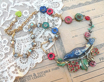 bird collage necklace bluebird assemblage summer floral romantic fence cottage chic upcycled vintage jewelry