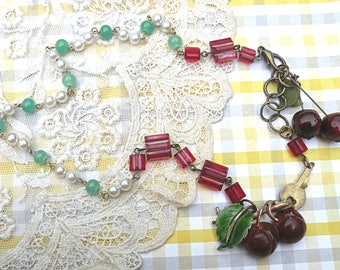 bing cherry assemblage necklace romantic recycled vintage summer jewelry fruit pin garden cottage chic red