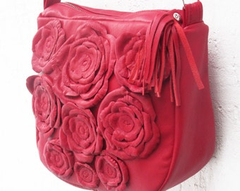 red leather bag women messenger floral leather bag recycled leather bag flower shoulder bag rose leather bag boho leather bag  fashion
