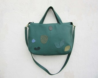 Large Leather Bag / Leather Handbag / Leather Tote in Retro Green Applique Bag