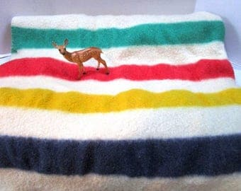 Vintage Genuine Hudson Bay Wool Trade Blanket, 4 Point / Stripes, Red Green Gold Black, Classic Nanook of the North, Cabin Car Craft Upcycle