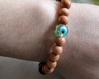 Wooden Beaded Evil Eye Bracelet