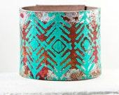4th of July Turquoise Jewelry Cuff Southwest Leather Jewelry Bracelet