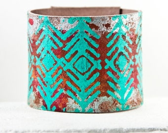 Turquoise Jewelry Cuff Southwest Leather Jewelry Bracelet