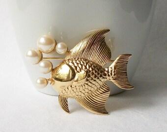 Vintage Pearl Fish Brooch, Vintage Pearl Jewelry