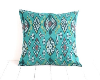 Ikat, Pillow, Cushion, Ethnic, Bohemian, Global Decor, Indonesian Textiles, Graphic, Geometric, 16 x 16
