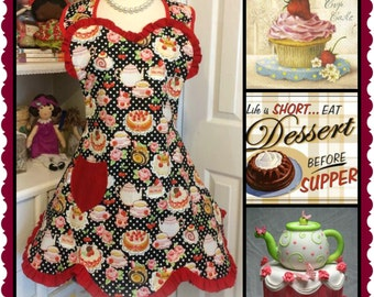 Life is short eat dessert first, hand made 1940's woman's full sweetheart top with a scalloped hem, ruffles and it is fun to wear apron