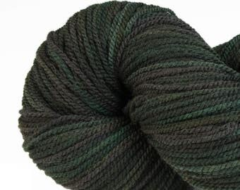 Handpainted DK weight yarn, locally grown and spun Targhee wool, Meriwether, 100 g, Deep Forest