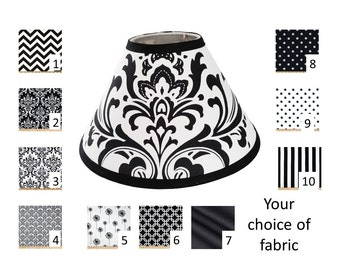 Black lampshade etsy black and white lamp shade your choice of size and pattern free shipping in aloadofball Image collections