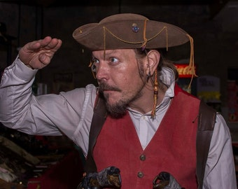 Leather Pirate TRICORN hat