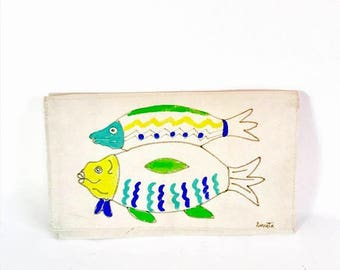 Spring SALE 25% Vintage 1980s Cloth Envelope Clutch Bag Hand Painted Fish Canvas Fold Over Snap Flap Cotton Fabric Handmade 80s Purse Artist