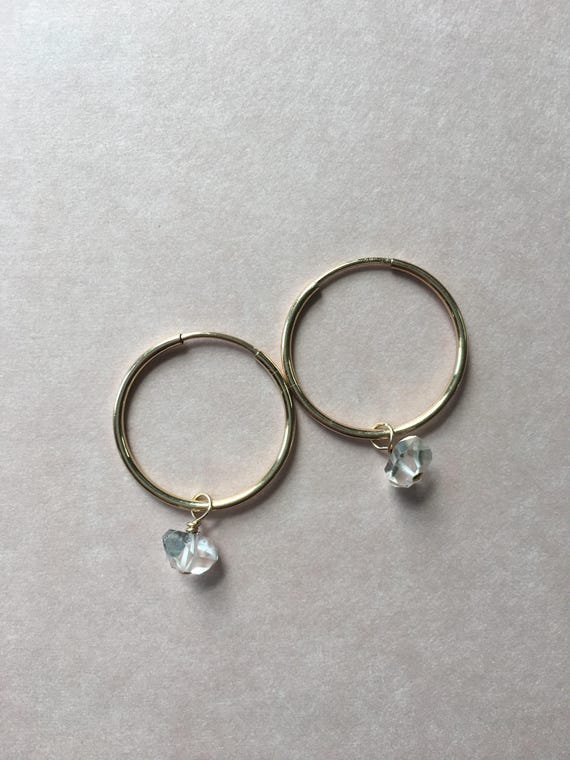 Herkimer diamond large hoops