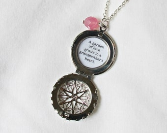 Grandmother Quote Necklace Locket. Handmade Silver Typography Jewellery. Jewelry For Her Grandma Gran. Gift Love Family Relatives Relations